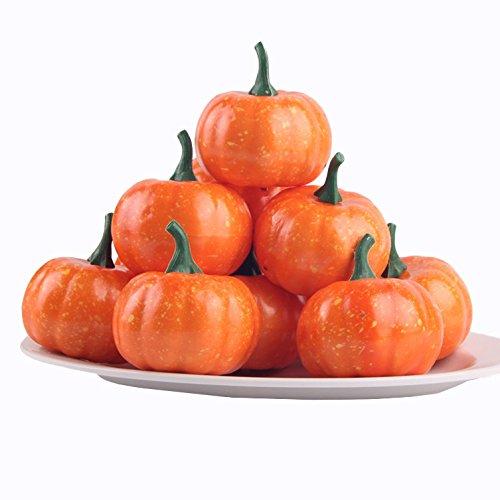 (jarown 16PCS Halloween Künstliche Gemüse Fake Fruits Mini Kürbisse für Herbst Thanksgiving Garten Home HARVEST Dekoration Orange)