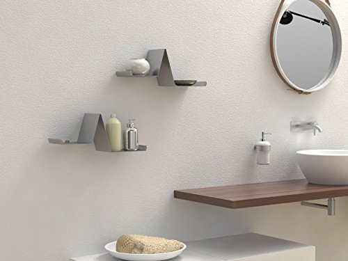 Ve.ca-italy mensola portaoggetti porta libri valerie in metallo arredo bagno soggiorno camera, 100% made in italy (alluminio)