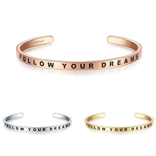 Nahla Damen-Armreif Follow your dreams Edelstahl rosévergoldet ca. 16-21 cm - Armreifen rosegold mit Gravur Partner-Schmuck kombinierbar Geschenkidee