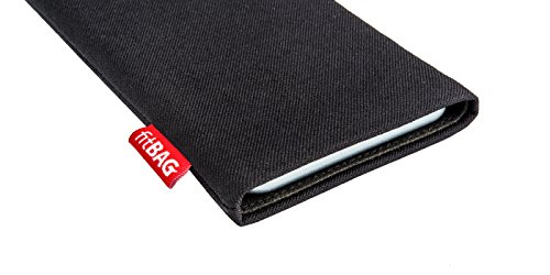 fitBAG Jive Blau Handytasche Tasche aus Textil-Stoff mit Microfaserinnenfutter für Apple iPhone 6 Plus / iPhone 6S Plus 5,5 Zoll mit Apple Silikon Case Rave Schwarz