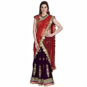 Ashi's Velvet Purple & orange Hand embroideryLehenga choli