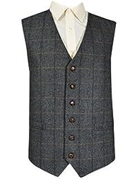 Laine classique traditionnelle à poignée Style Gilet en Tweed à chevrons Gris Check