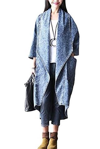 MatchLife Nouveau Casual Demi Manche Grandes Poches Trench Denim Manteau Bleu