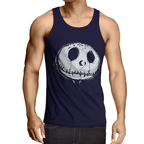 lepni.me Weste beängstigend Schädel Gesicht - Alptraum - Halloween-Party-Kleidung (Medium Blau Mehrfarben)
