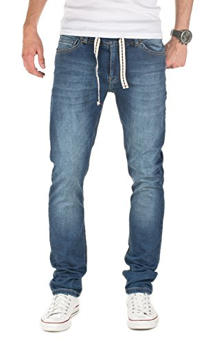 Yazubi Herren Sweathose in Jeansoptik Rick - Skinny Fit - Jogginghose in Jeans-Look, Blau (Dress Blues 4024), W28/L34