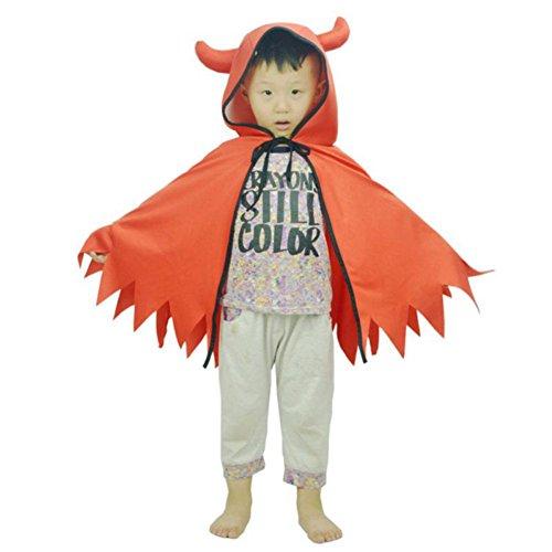 Bornbay Halloween Cape Teufel Horn Kinder Umhang Umhang Orange 80cm / 31,50
