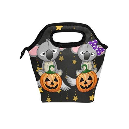 yibaihe Isolierte Lunch Tasche Tasche Kühler Halloween Koalas mit Kürbis Lunch-Boxen Tragbarer Handtasche für Outdoor Picknick Frauen Kinder