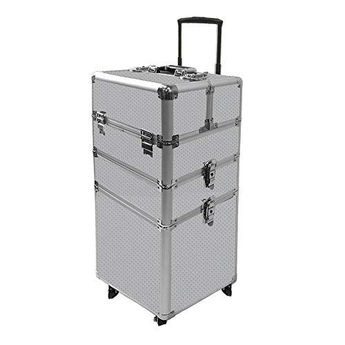 AUFUN 3-Schicht Trolley Schminkkoffer Kosmetikkoffer Groß Beauty Case Multikoffer mit räder für...