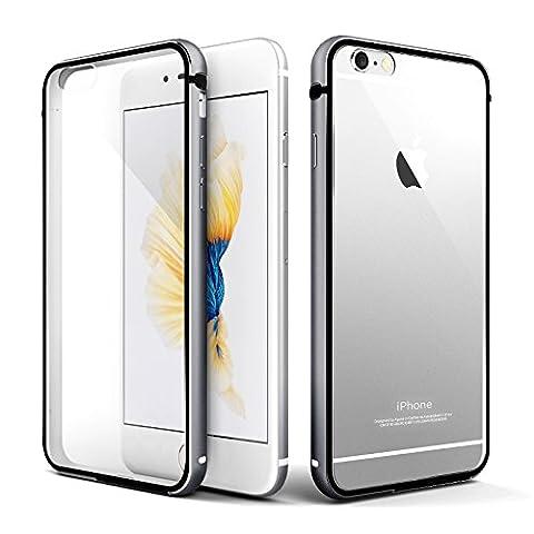 iPhone 6s plus Hülle, Roybens Metall Silikon 2 in 1 Extra Dünn Stoßfest Durchsichtig [Transparent] Schalen Clear Taschen für Apfel [Apple] iPhone 6 plus und iPhone 6s plus, Schwarz [Black]