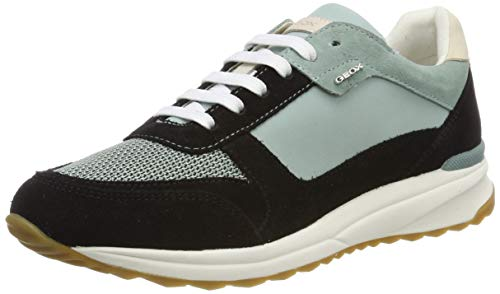 Geox D AIRELL C, Zapatillas para Mujer, Black Black/Lt Green C9b3u, 40 EU