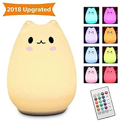Elfeland cute chat LED veilleuse de nuit avec la télécommande,Multicolor Lampe en silicone pour chambre ,toilette et salon