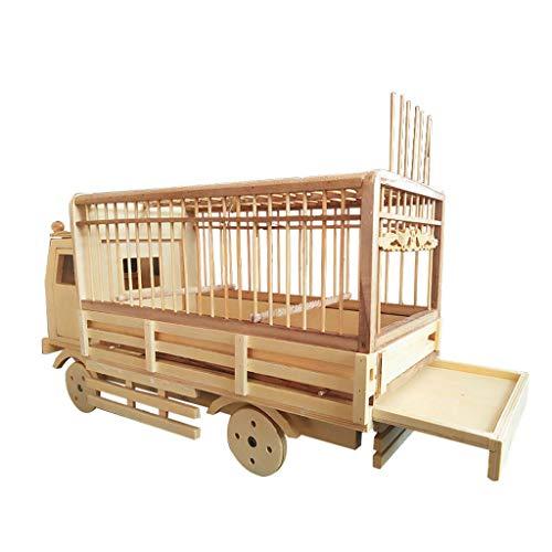 Prodotti di bambù Gabbia per Uccelli Modello di Auto Quattro Ruote scorrevoli Nido di Uccello Canarino Pappagallo Uccelli Piccoli Gabbia per Uccelli 35 * 18 * 16CM