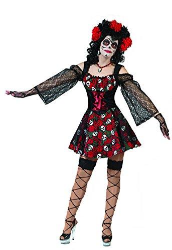Halloween Karneval Kostüm Set Sugar Skull, Day of Dead Dia de los Muertos, M, Mehrfarbig (Freddy Krueger Halloween-make-up)