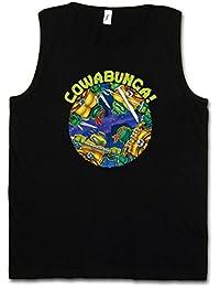 BLACK COWABUNGA MUSCLE SHIRT - Teenage TMNT Comic Mutant TV Ninja Hero Serie Turtles