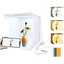 WJH 30cm Folding Portable Ring Light Photo Lighting Studio Schieten Tent Box Kit met 6 Kleuren Backdrops (zwart, wit, oranje, rood, groen, blauw), Unfold Maat: 31cm x 31cm x 32cm