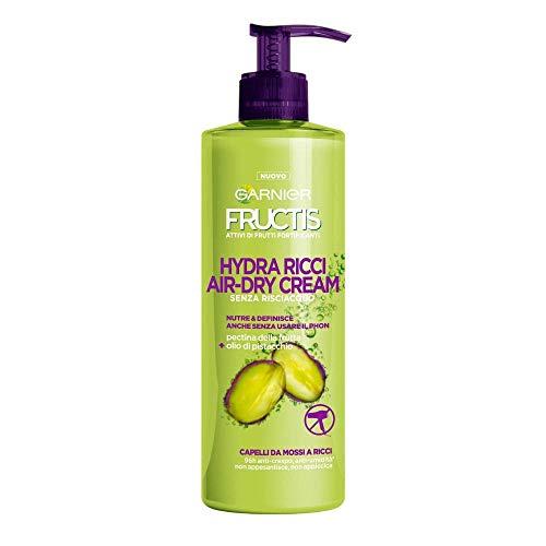 Garnier Fructis Hydra Ricci Air-dry Cream, Trattamento senza risciaquo per capelli da mossi a ricci, Formula arricchita con olio di pistacchio, 400 ml