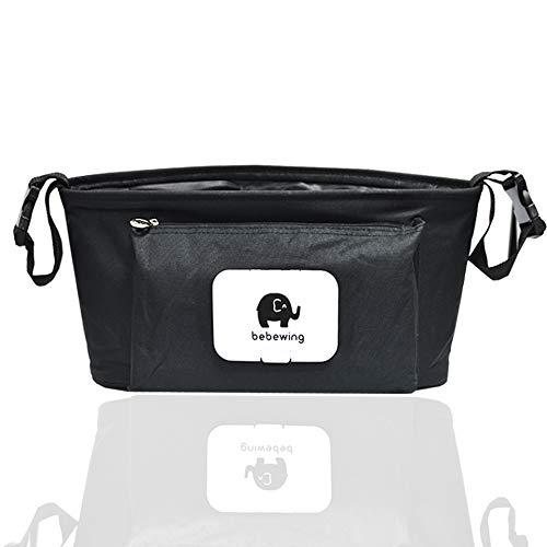 Kinderwagen Organizer, Universale Kinderwagentasche/Kinderwagen-Zubehör und Buggy Organizer Tasche, Schwarz