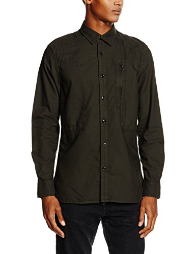 G-STAR RAW Powel Shirt Long Sleeve, Camicia Uomo, Grigio (Asfalt 995), Small