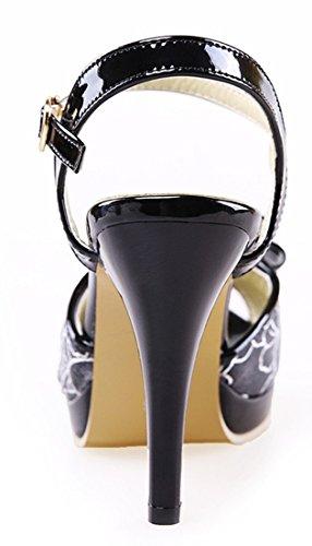 YE Damen Peep Toe High Heels Plateau Stiletto Sandalen Mit Riemchen 10cm Absatz Pumps Sommer Schuhe Mit Schleife Schwarz