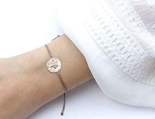 SCHOSCHON Damen Armband Lebensbaum 925 Silber Rosevergoldet Taupe-Rosegold // Baum des Lebens Weltenbaum