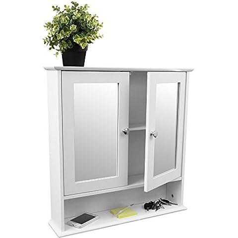Wandschrank mit Spiegel und Ablage 56x13x58cm Badschrank Spiegelschrank Hängeschrank für