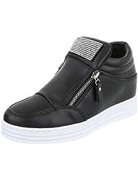 Low-Top Sneaker Damenschuhe Low-Top Keilabsatz/ Wedge Sneakers Reißverschluss Ital-Design Freizeitschuhe