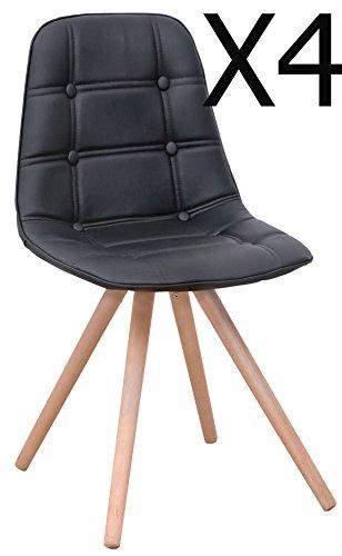 Lot de 4 chaise longue revêtu PU avec solides pieds en bois, coloris noir - Dim : 400 x 420 x 850 mm - PEGANE -