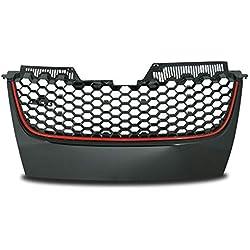 JOM 1K1853653BRO JOM calandre de radiateur sans Sigle Compatible avec Golf 5 avec -GTI-Look nid d'abeille Bordure Noir/Rouge - Qualité Allemande
