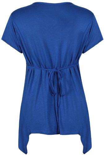 Damen T-Shirt Kurzarm Dehnbares Schnallen Brosche Hinten Gebundenes V-AAusschnitt Ungerade Taschentusch Süitzen Saum T-Shirt Top Plus Gößen Königsblau