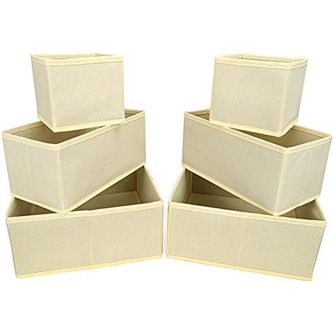 EZOWare Caja de Almacenaje con 6 pcs/ 2 serie, Caja multiuso, Caja de Tela, Color Beige