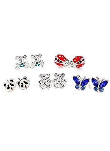 Neoglory Jewellery Anti-allergique Boucles d'Oreilles Stud Lot De 10(5 Paires)Animaux Incrustés Stud Earrings