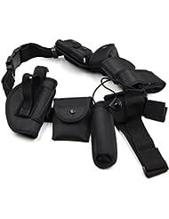 Ceinture de Sécurité Tactique Ceinturon 10 Pochettes Système de Garde Police Nylon Noir