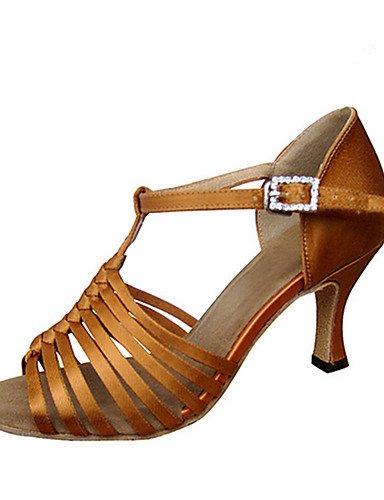 La mode moderne Sandales Chaussures de danse pour femmes personnalisables Satin Satin de Jazz Latino Salsa Swing Sandales Chaussures sur mesure professionnel débutant HeelPractice US9.5-10/EU41/UK7.5-8/CN42