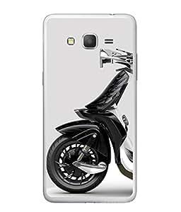 Fuson Designer Back Case Cover for Samsung Galaxy Grand 2 :: Samsung Galaxy Grand 2 G7105 :: Samsung Galaxy Grand 2 G7102 :: Samsung Galaxy Grand Ii (Artistic Design Scooter Unique Black Lady Men)