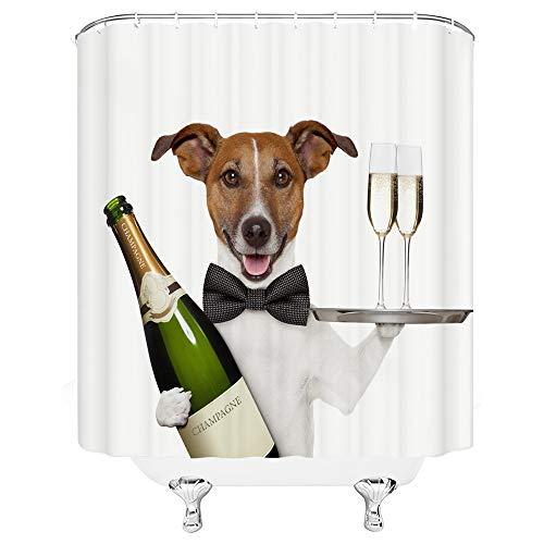 Schwarze Fliege Rotwein Glasschale brauner Hund Kellner Bad hochwertige Duschvorhang, stilvolle wasserdicht und Schimmel Lange Duschvorhang