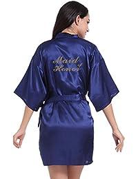 WYSMOL Dama de Honor Estampado en Caliente Ropa de Dormir Sexy Batas y Kimonos de Satén