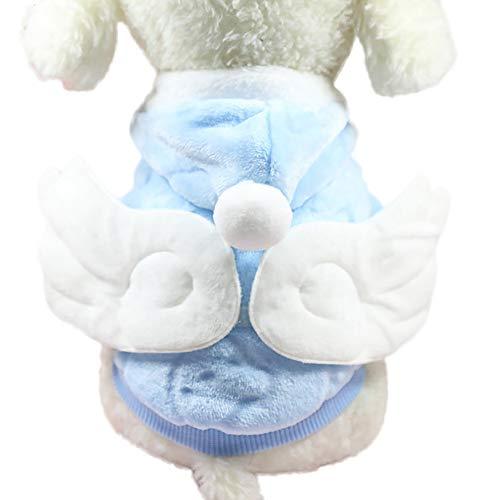 Gogagoda Haustier Weiche Warme Kostüme Herbst Winter Flügel Angel Flanell Mantel mit Knopf Hund (Weiches Kostüm Flügel)