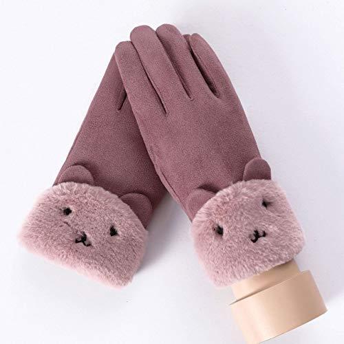 IMmps Frauen Touchscreen Pelz Handschuhe Winter Doppel pelzigen Handschuhe warme Schneeflocke Stickerei Outdoor-Mode Handschuhe-T1639081A-Bear-DouSha