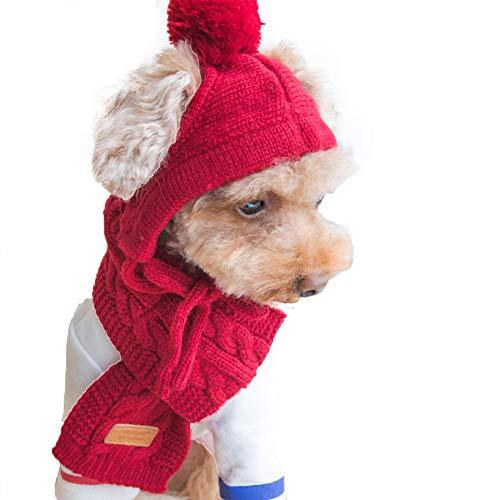 JYNQR Gestrickte Pet Cap Schal - Hund Katze Winter Bekleidung handgemachte gestrickte Wollgarn Mütze für Pomeranian Bulldog Pudel Yorkshire Teddy Fashion Hat,Red,M Red Hats Classic Hut