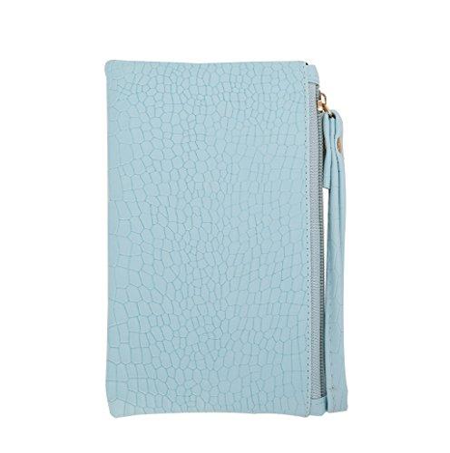 Dairyshop Borsa piccola della borsa della moneta del supporto della carta del raccoglitore della cassa del telefono della chiusura lampo della donna (Blu) Blu