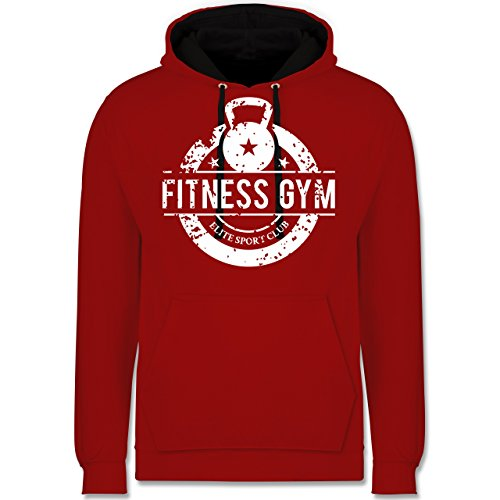 CrossFit Workout Fitness Gym Elite Sport Club Kontrast Hoodie Rot/Schwarz