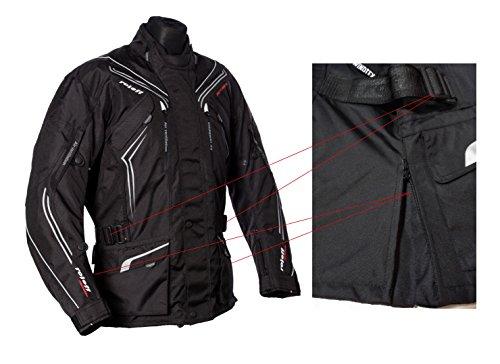 Schwarze Motorradjacke mit Protektoren, Belüftungssystem, Klimamembrane und herausnehmbarem Thermofutter - 8