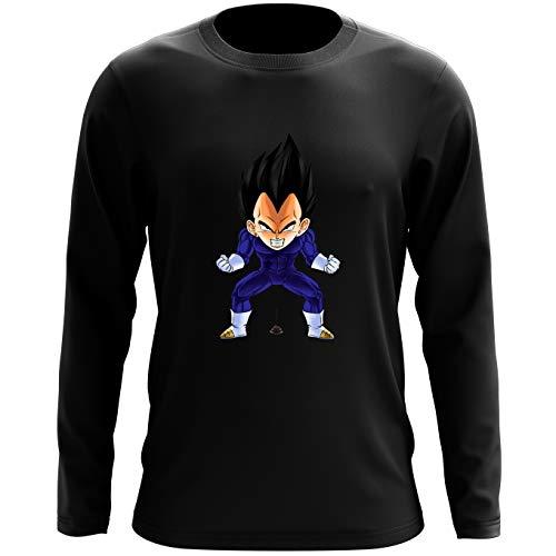 Okiwoki T-Shirt à Manches Longues Noir Dragon Ball Z - DBZ parodique Végéta : Super Caca Vol.2 (Parodie Dragon Ball Z - DBZ)