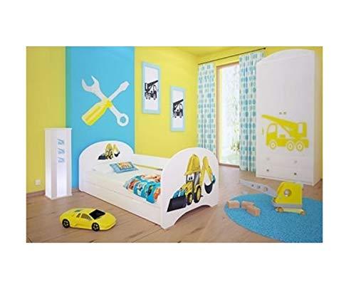naka24 Kinderbett mit 2 Liegeflächen und 2 Matratzen - für Mädchen und Jungen (200x90 cm, Bagger)