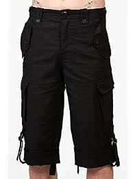 Herren knielange schwarze Hose mit Seitentaschen in verschiedenen Größen Queen of Darkness