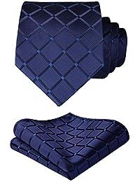 53accf8783a0 HISDERN Check Wedding Tie Handkerchief Men s Necktie   Pocket Square Set