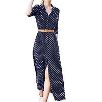 Fankle Women's Dresses Polka Dot Print Maxi Long Dress Stand Collar T-Shirt A-Line Long Sleeve Sundress with Belt(Navy,M)