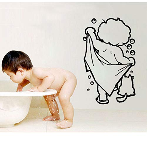 Xqi wangpu Nette Badezimmer Baby Dusche Wandaufkleber Badezimmer Dekor Wc Tür Vinyl Aufkleber Dekoration Wandtattoos Wandbild Für Badezimmer 25X42 cm