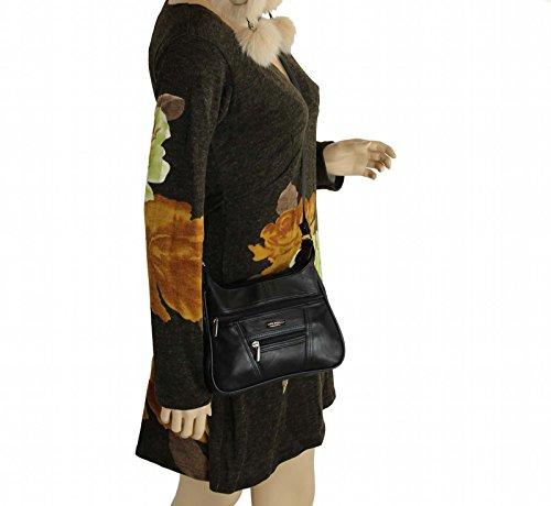 Borsa a tracolla da donna, in pelle di agnello, nero (Schwarz (22x19 cm)), 22x19 cm Schwarz (22x17 cm)
