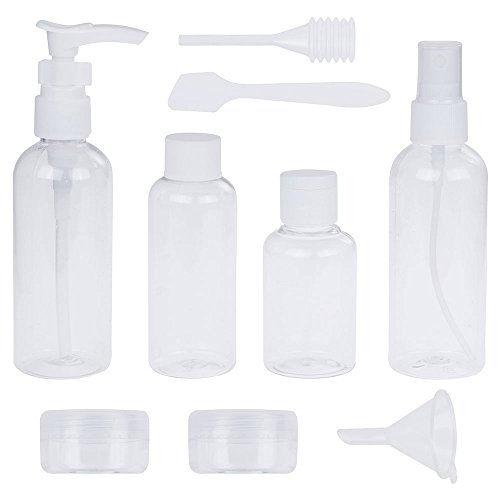 Lictin Pack of 9 Travel Bottle Set and Free Toiletry Bottle Bag, Refillable Silicone Cosmetic Travel Containers Liquid Organizers for Shampoo, Lotion, Sunblock, Toiletries, Conditioner, Cream